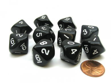 10 Piece Set of 10-Sided D10 Polyhedral Dice - Black with White Numbers