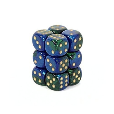 Gemini 16mm D6 Chessex Dice Block (12 Dice) - Blue-Green with Gold Pips
