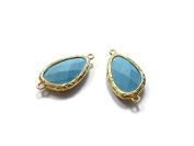 Foxy Findings Gemstone Collection Gold Plated Bezel Set Faceted Turquoise Connector Set of 1 24mm GS009-g