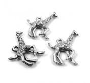 Set of Three (3) Silver Tone Pewter Giraffe Charms