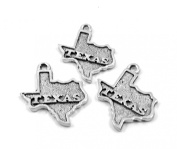 Set of Three (3) Silver Tone Pewter State of TEXAS Charms