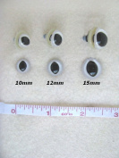 SLIT PUPIL Plastic Safety EYES Frogs, Dragons, Cats, 12 PAIR 10mm to 15mm (ship from usa)