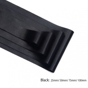 Neotrims PU Faux Leather Ribbon Tape Trimming, Cut in 4 widths, Leatherette Supple Binding,Coach Pram Strap Strip. 5 Colours. PU Front, Satin Non Woven Fabric Bonded Back. Black 100mm-2.5yards