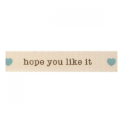 Berisfords 'Hope you like it' Green/Ivory 15mm Ribbon on a 4m Reel (Natural C...