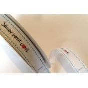 Bertie's Bows 'Sewn with Love' White Grosgrain 16mm Labels on a 3m Roll