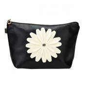 Bestrice Cosmetic Bag Sunflower Trapezoid Portable Handbag/Wrist Bag/Clutch Bag/Cell Phone Bag/ Ladies Purse - Black