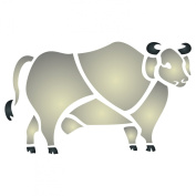 Brahma Bull Stencil - (size 19cm w x 11cm h) Reusable Wall Stencils for Painting - Best Quality Farm Animals Stencil - Use on Walls, Floors, Fabrics, Glass, Wood, Terracotta, and More...