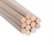Wood Dowel Rod 0.6cm x 30cm - 12 Pack