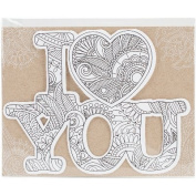 Diecut Colouring Cards -I Love You