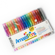 AmazaPens Gel Pens, 20 Pack Super Glitter | 150% More Ink than Other Sets | Best for Adding Sparkle to Your Adult Colouring Books and Art Projects.