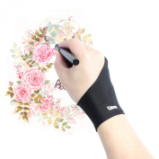Litup Artist Glove with Two Fingers for Graphics Tablet Monitor Pen Display Light Box Free Size Anti-fouling Glove Left or Right Hand Available