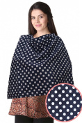 Lilbutterfliies Nursing Covers, Breast Feeding Nursing Covers, Soft Cotton Blue Polka Dots
