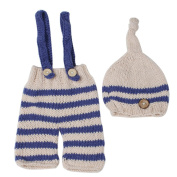 Space PH Newborn baby photography props infant knit crochet costume blue striped soft outfits elf button beanie+pants baby shower gift
