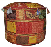 Patchwork Design Embroidered Pouffe Ottoman Cover 17 X 43cm X 30cm