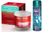 Bundle Package Of DONA Massage Candle Straw Souffle 220ml And Wet Original Gel