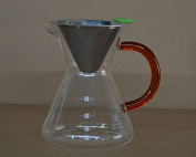 Clever Coffee Dripper Pure Over Coffee Maker Permanent Reusable Stainless Steel Coffee Filter Brewer Pyrex Glass Paperless Cone Coffee 4 Cup -Comenzar®