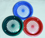 6 GREEN, RED, and BLUE PAPER PLATE HOLDERS, PICNIC, BBQ, PARTIES, & CAMPING