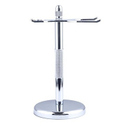 Shaveory Shaving Brush & Razor Stand Chrome Holder for your Razor & Shave Brush Keeps Sink Neat & Protects Your Shaving Tools