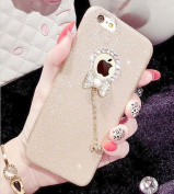 Iphone 6S Plus Case,ARSUE 3D Cute Beauty Luxury Bling Glitter Handcraft Diamond Soft Rubber Shiny Sparkling with Crystal Bow Knot Pendent Charms Cover Case for Iphone 6 Plus /6S Plus(14cm )