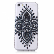 iPhone 5C Case,iPhone 5C Cover with Henna Mandala Floral Paisley Tribal Pattern , UZZO Ultra Thin TPU Case Transparent Skin Bumper Silicone Back Case Cover for iPhone 5C