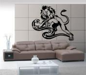 Lion Vs Snake Fight Animal Decor Wall Mural Vinyl Art Sticker M280