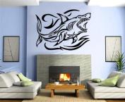 Hunting Shark in Water Tribal Decor Wall Mural Vinyl Art Sticker M288