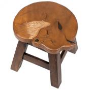 Fox Design Hand Carved Acacia Hardwood Decorative Short Stool