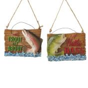 8.9cm Haulin' Bass Rustic Fishing Plaque Christmas Ornament