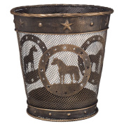 Gift Corral Small Waste Basket - Black/Bronze - Mini Horse