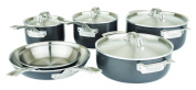 Viking 40021-9990 10 Piece Hard Anodized Cookware 5-Ply with Stainless Steel Interior, Silver