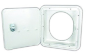 JR Products 71122-OVAL-A Polar White Key Lock Fuel Hatch with Oval Back