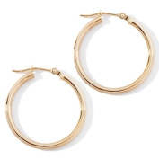 14k Yellow Gold 2mm x 25mm Polished Hoop Earrings