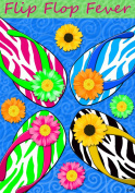 Zebra Print Pattern Flip Flop Fever Summer Fun Garden Flag