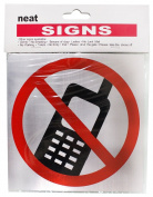 "Red And Black ""No Cell Phone"" Aluminium Message Sign In A Drawing Without Words- 14cm Square With Adhesive Back :"