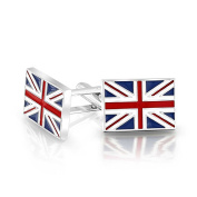Bling Jewellery Mens Union Jack UK British Flag Cufflinks Rhodium Plated Enamel