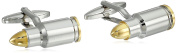 Bling Jewellery Mens Two Tone Rhodium Gold Plated Tipped Bullet Cufflinks