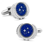 Licenced Star Trek UFP Logo Silver And Enamel Cufflinks