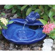 Smart Solar Outdoor Fountains Blue Glazed Ceramic Solar Koi Fountain 21372R01