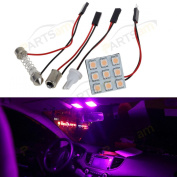 Partsam Universal Fit 4pcs Pink 9-5050-SMD LED Panel Kit for Car Trunk Interior Dome Map Trunk Cargo Reading Lights Bulbs 12V