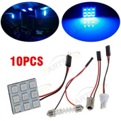 Partsam Universal Fit 10pcs Blue 9-5050-SMD LED Panel Kit for Car Trunk Interior Dome Map Trunk Cargo Reading Lights Bulbs 12V + Adapters