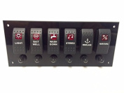 Marine Grade Acrylic Panel with 6 Rocker switches, 6 Switch Covers, 6 Push to reset Breakers