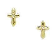 14KT Yellow Gold Cubic Zirconia Small Cross Screwback Earrings - Measures 8x5mm