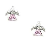 14k White Gold Pink CZ Angel Screwback Earrings - Measures 7x7mm