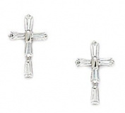 Sterling Silver Rhodium Plated Cubic Zirconia Medium Cross Screwback Earrings - Measures 12x8MM