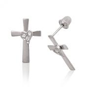 Sterling Silver Rhodium Plated Cubic Zirconia Medium Cross With Heart Screwback Earrings - Measures 14x9MM