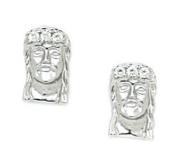 14k White Gold CZ Jesus Face Screwback Earrings - Measures 12x8mm