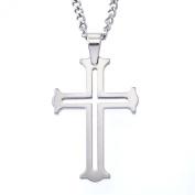 Men's Tungsten Cut-out Cross Pendant Necklace
