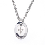 Men's Tungsten and Steel Engraved Cross Oval Necklace