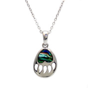 Liav's Bear Paw Charm Pendant Fashionable Necklace / Abalone Paua Shell / 46cm Link Style Chain / Unique Gift and Souvenir