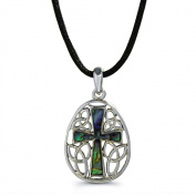 Liav's Cross Charm Pendant Fashionable Necklace / Abalone Paua Shell / 46cm Wild Style Chain / Unique Gift and Souvenir